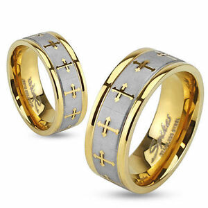 Womens Mens Gold Brushed Stainless Steel Cross Wedding Band Ring Size 5 131419