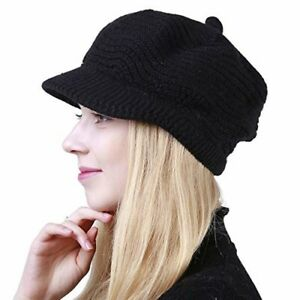 Women s Winter Warm Slouchy Cable Knit Beanie Skull Hat with Visor ... 853368613ea