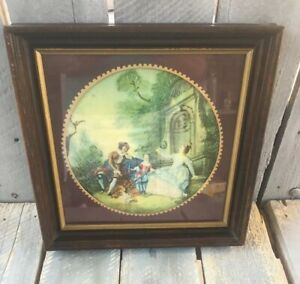 Antique-Georgian-Era-French-Silk-work-Embroidery-Tapestry-In-Frame