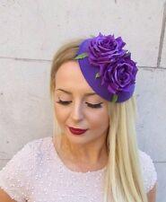 Purple Rose Flower Pillbox Hat Fascinator Races Vtg Headpiece Rockabilly 2567