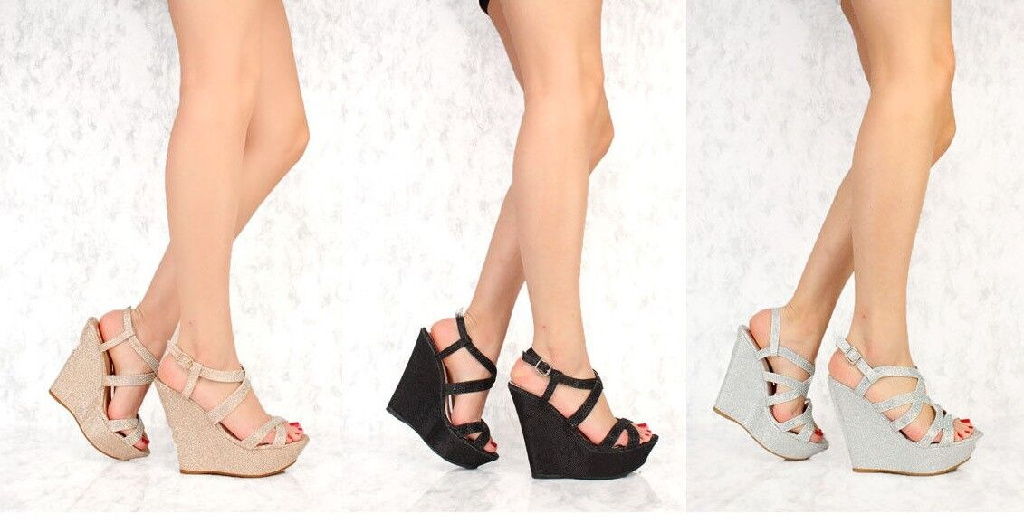Silver Champagne Gold Strappy Shimmer Rhinestone Accent Open Toe Platform Wedges