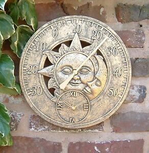Sun And Moon Outdoor Garden Thermometer with 12-Inch Clock