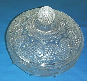 GLASS-AVON-COVERED-CANDY-POWDER-TRINKET-DISH-DIAMOND-POINT-VINTAGE-FOOTED-6-INCH