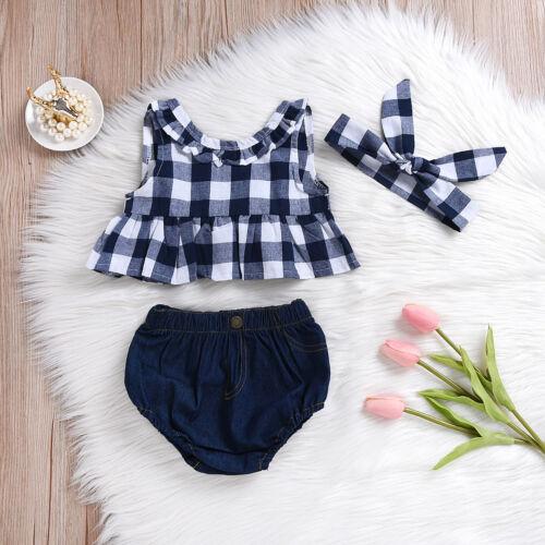 Summer Baby Girl Clothes 3Pcs Outfits Set Dress Tops+Denim Pants+Headband