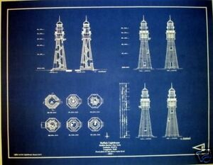 Lighthouse at buffalo harbor new york blueprint plan 17x22 278 image is loading lighthouse at buffalo harbor new york blueprint plan malvernweather Gallery