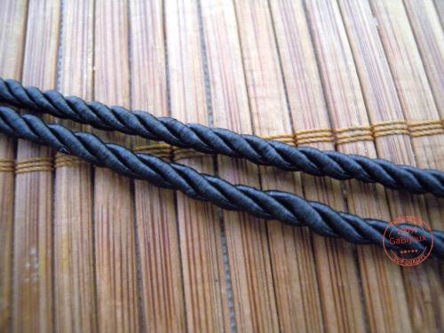 1 Mt Cordino Intrecciato Corda Treccia Nero x Collane Bracciali Bigiotteria 3mm