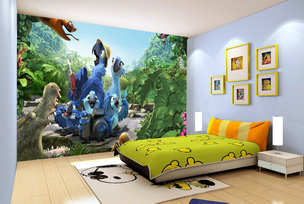 3D Bule Parrot 437 Wallpaper Murals Wall Print Wallpaper Mural AJ WALL UK Summer