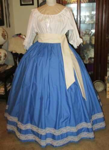 Victorian Costume Dresses & Skirts for Sale    CIVIL WAR DRESS~VICTORIAN STYLE GORGEOUS ROYAL BLUE SKIRT & SASH ~~DS WAIST  $64.95 AT vintagedancer.com