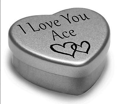 I Love You Ace Mini Heart Tin Gift For I Heart Ace With Chocolates