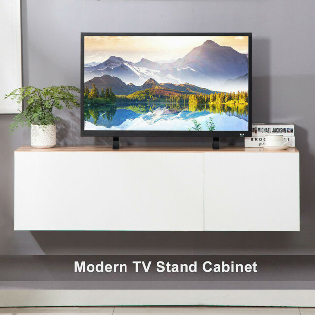 47'' Floating Wood TV Stand Wall-Mount Media Console Furniture w/2 Door  Storage