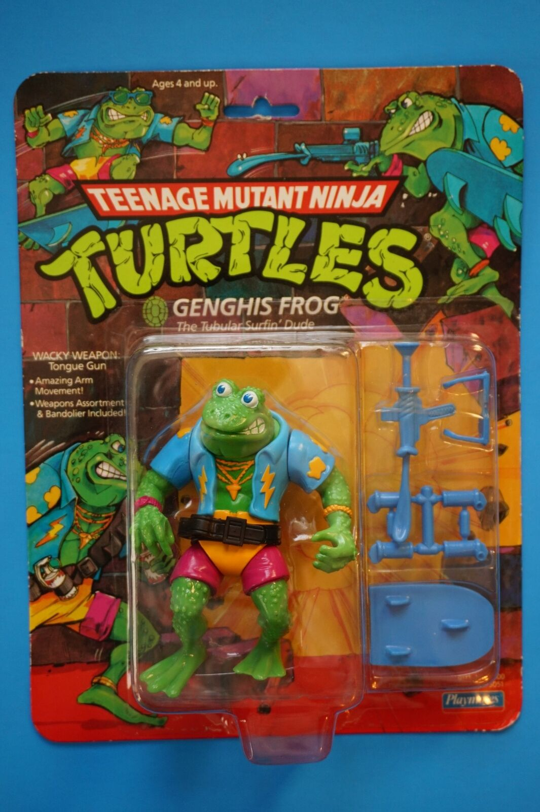 1989 Teenage Mutant Ninja Turtles Figura  Gengis Frog  Como Nuevo Sellado Menta en paquete Teenage Mutant Ninja Turtles