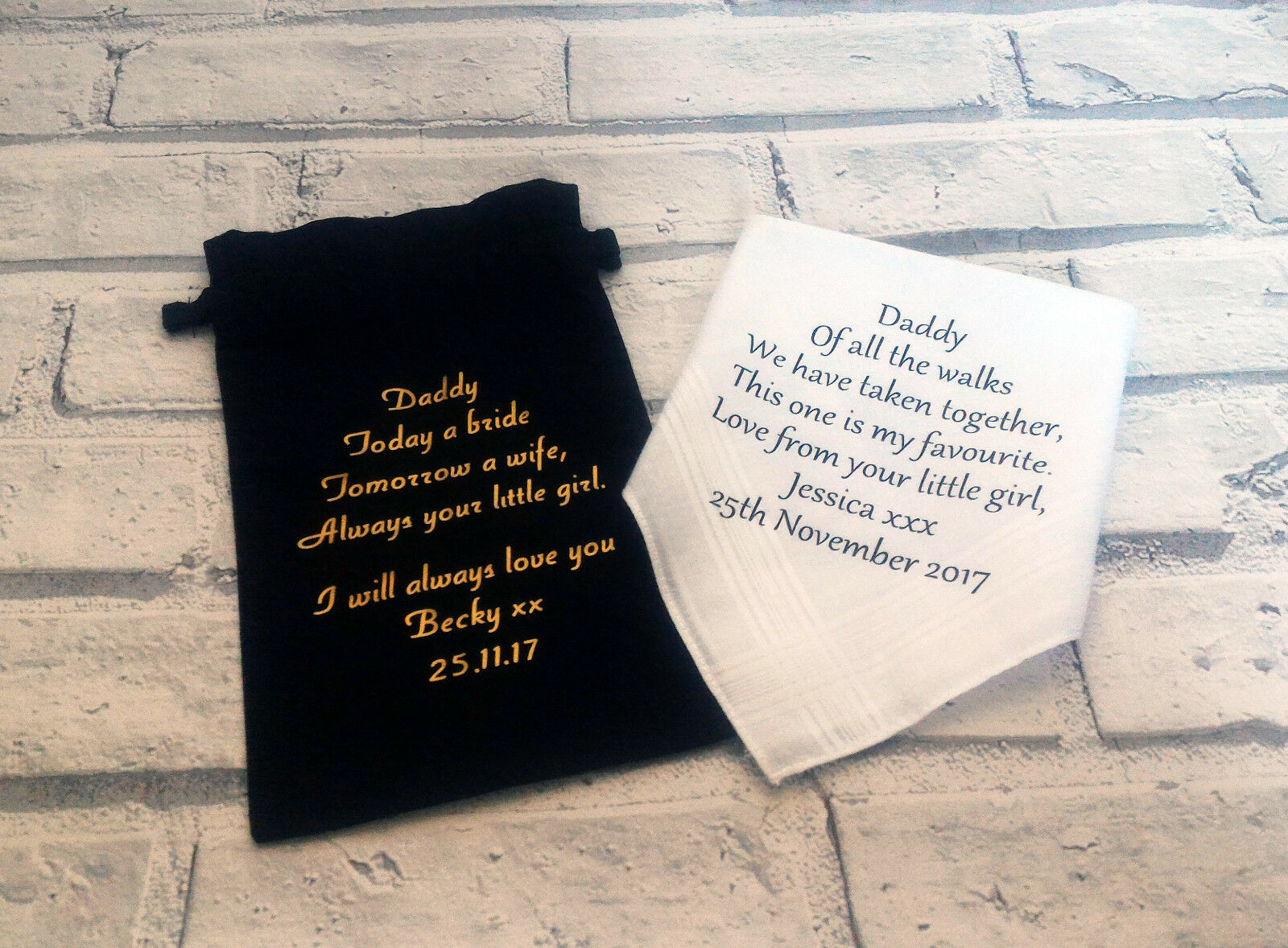 Personalised handkerchief and gift bag, Father of the bride gift set