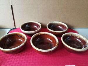 McCoy-Pottery-5pc-BROWN-DRIP-Glaze-Soup-Cereal-Bowl-USA-5-1-4