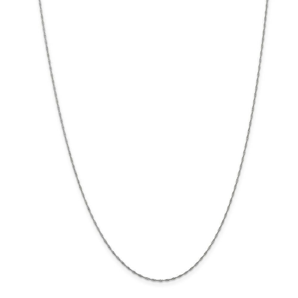 14kt White gold 1mm Singapore Chain; 30 inch