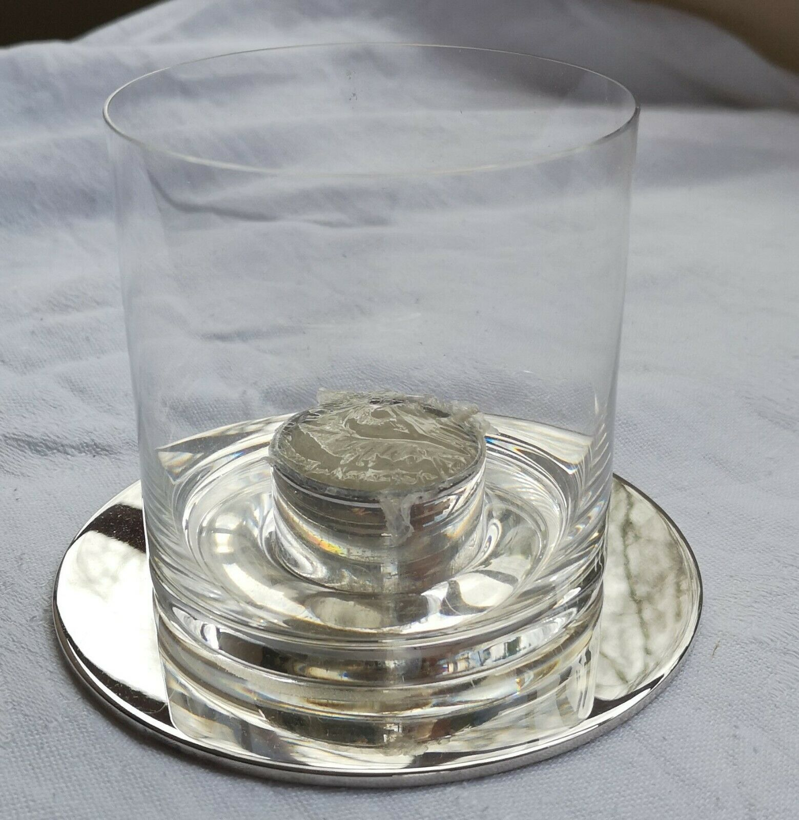 Joli photophore modèle Radius en métal argenté et verre signé Christofle
