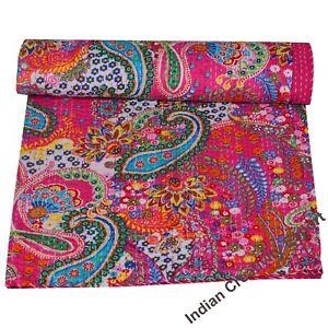 Indian-Handmade-Baby-Quilt-Throw-Reversible-Blanket-Bedspread-Cotton-Fabric