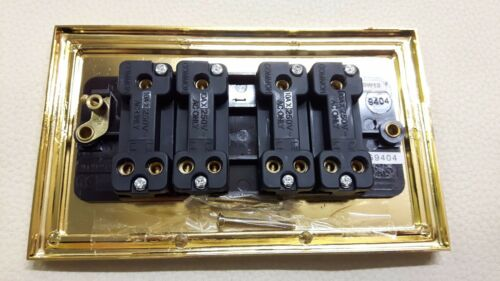 Brass Georgian Rope Effect 4 Gang 2 Way 10 Amp Black Insert Switch