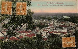 Moissac-Frankreich-Color-AK-1921-gelaufen-Le-Tarn-et-Garonne-vue-plongeante