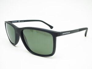 a9a61488f91 New Emporio Armani EA 4058 5653 9A Black Rubber with Polarized Green ...