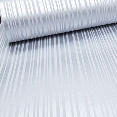 Arthouse Barcode Stripe Metallic Silver /& White Shimmer Shine Striped Wallpaper