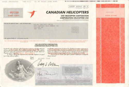 Canadian Helicopters /> CHC Helicopter Corporation /> Canada stock certificate
