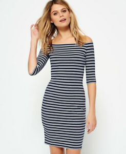 3fcc9b650f6 Image is loading New-Womens-Superdry-Bardot-Bodycon-Dress-Twin-Stripe-