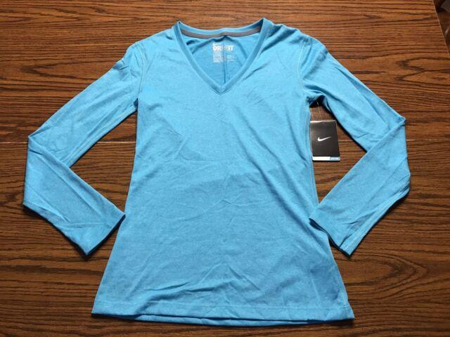 5efa2333 NWT Women's Nike Dri-Fit Legend V Neck Long Sleeve Shirts Size XS 543244-