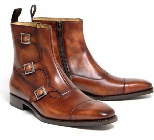 botas para hombre hecho a mano de cuero marrón triple monje Cap Remolque Cremallera Lateral Formal Zapatos