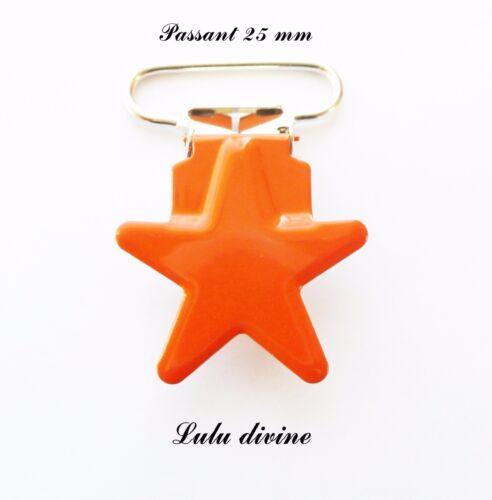 passant de 25 mm : Orange Clip étoile Pince étoile Attache tétine doudou