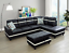 thumbnail 7 - *SALE* Unique Black Sectional w/ Storage Ottoman Faux Leather & 2 Accent Pillows