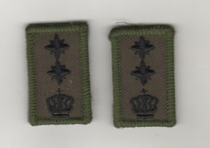 Military-Uniform-Sew-On-Patch-2-Piece-Touch-Fastener-Olive-Crown-with-2-Stars
