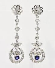 Art Deco Platinum 2.85ct H-VS2 Rose Cut Diamond & Ceylon Sapphire Earrings 14.2g