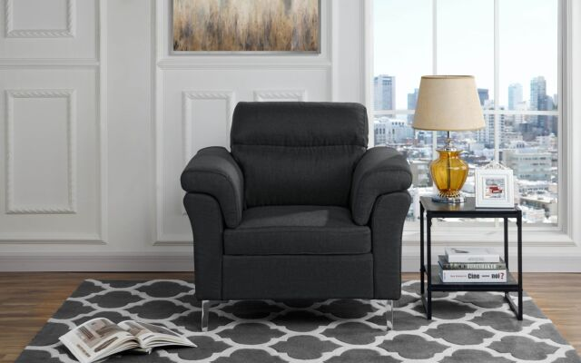 Contemporary Living Room/Family Room Fabric Armchair, Accent Chair (Black)