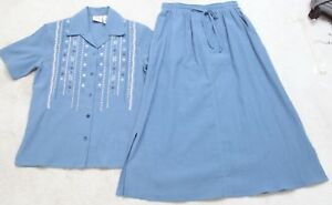 Women's Clothing Koret City Blues Blue White Outfit Womens Petite P Pants Skirt Cotton Polyester Mixed Items & Lots
