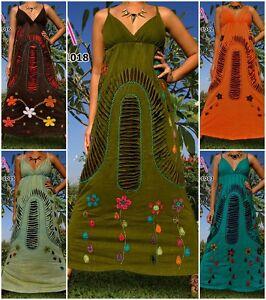ANGELA-NEW-Handmade-Women-Long-Maxi-Dress-Boho-Hippie-Summer-Size-M-XXXL-Plus