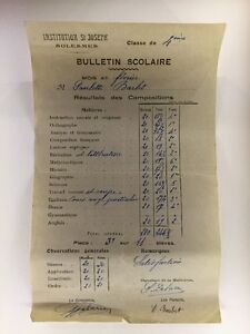 Ancien-Bulletin-Scolaire-De-1942-Institution-St-Joseph-Solesmes