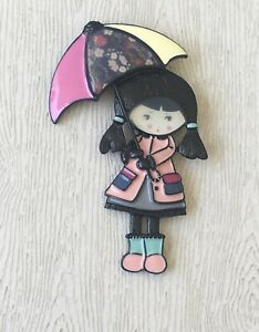 Adorable-Girl-holding-umbrella-Pin-Brooch-in-enamel-on-Metal