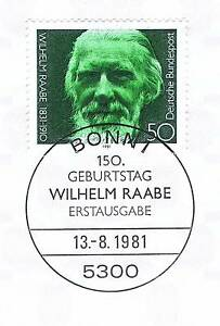 Rfa 1981: Wilhelm Raabe Nº 1104 Avec Le Bonner Ersttags Cachet Spécial! 1a! 154-stempel! 1a! 154fr-fr Afficher Le Titre D'origine Demande DéPassant L'Offre