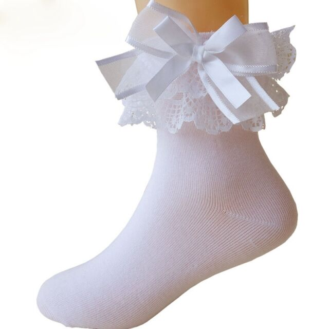 details for best selling best deals on Baby Girls Lace Ruffle Frilly Bow Ankle Socks Sweet Princess Cotton Short  Socks