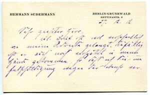 HERMANN-SUDERMANN-orig-Autogramm-1912-Autograph-hand-signed