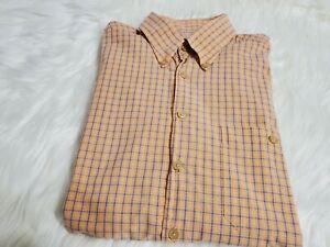 Scott-Barber-Mens-Button-Down-Long-Sleeve-Plaid-Shirt-Size-L-Orange-Large-Q-5