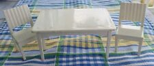 Vintage White Superior? Plastic Dollhouse Furniture Kitchen Table and 2 Chairs