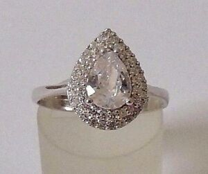 925-STERLING-SILVER-TEARDROP-WHITE-CUBIC-ZIRCONIA-RING-size-P1-2-Q