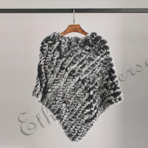Women's Basic Triangle Women/'s Knitted Real Rabbit Fur Shawl Capes Fur Poncho