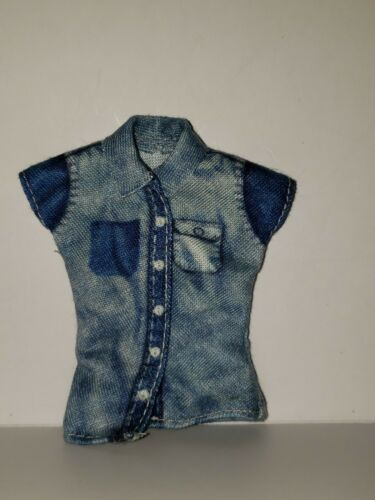 BARBIE DOLL CLOTHES  BLUE JEAN COLLARED SHIRT WITH POCKETS