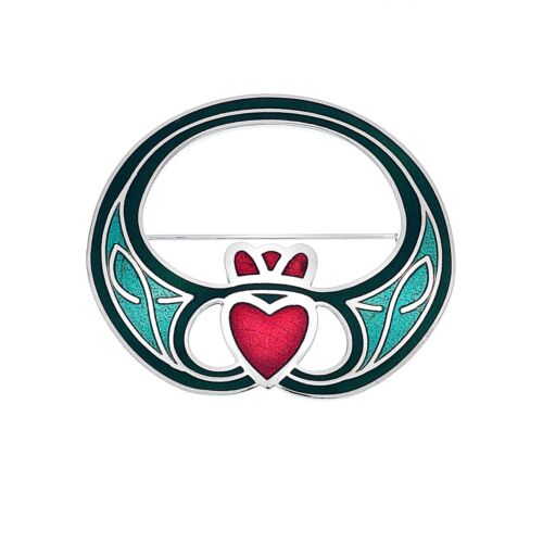 Modern Claddagh Brooch Silver Plated Brand New Gift Packaging