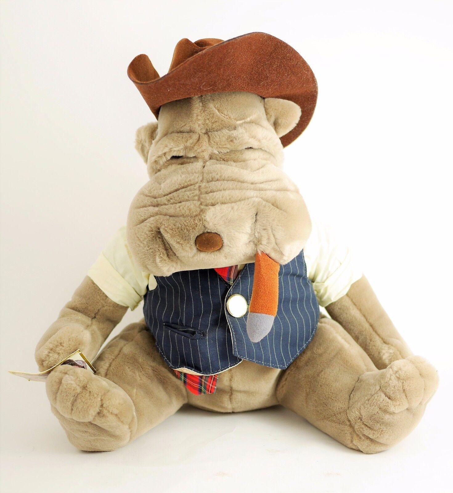 VTG LUIGI ARMANI Emmett Kelly Jr Plush Shar Pei Smoking Dog Stuffed Animal - 15
