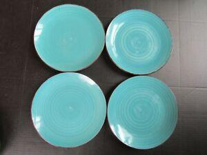 "Set of 4 Royal Norfolk TURQUOISE SWIRL BROWN TRIM Dinner Plates 10.5"""