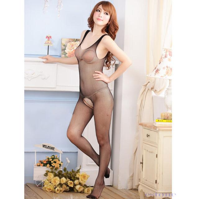 Women Black Sexy Lingerie Fishnet Sleepwear Nightwear Babydoll Dress G-strings