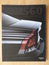 Volvo S60 Orig 2000 Uk Mkt información de prensa catálogo Folleto